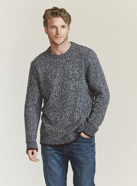 FATFACE Blue Hove Twist Knit Crew Neck Jumper With Wool