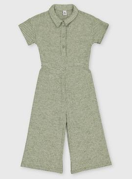 Green Flared Rib Jumpsuit - 3 years