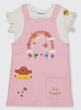 Hey Duggee Pink Pinafore & White T-Shirt