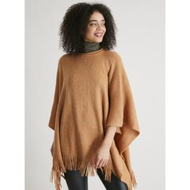 Tan Soft Touch Poncho - One Size