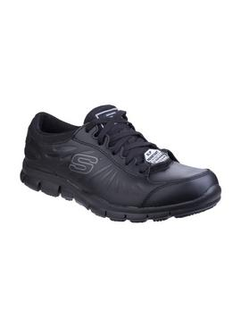 SKECHERS Black Eldred Lace Up Work Shoe