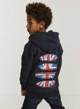 FATFACE Navy Union Jack Hoodie