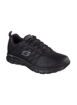 SKECHERS Black Sure Track Erath Lace Up Work Shoe