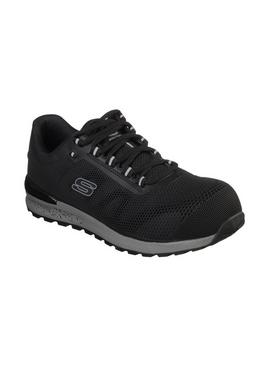 SKECHERS Black Bulklin Lace Up Safety Shoe