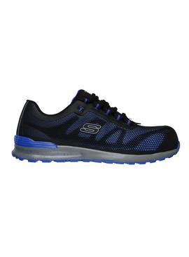 SKECHERS Black & Blue Bulklin Lace Up Safety Shoe