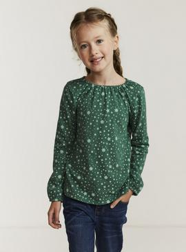 FATFACE Green All Over Star Print Top