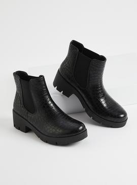 Black Mock Croc Faux Leather Chelsea Boots
