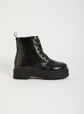Black Mock Croc Lace Up Boot