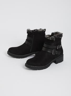 Black Faux Suede Twin Buckle Boot