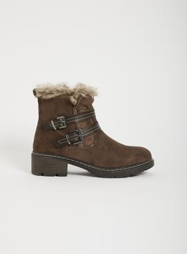 Taupe Faux Suede Twin Buckle Boot