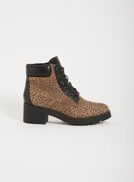Animal Print Lace Up Boot