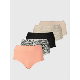 Zebra Print & Plain Full Knickers 5 Pack