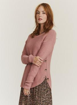 FATFACE Pink Side Button Emmy Jumper