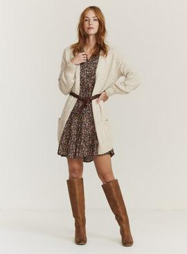 FATFACE Oatmeal Bella Bobble Knit Cardigan