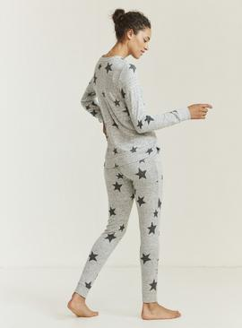 FATFACE Grey Star Print Pyjama Bottoms