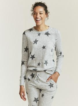 FATFACE Grey Star Print Pyjama Top