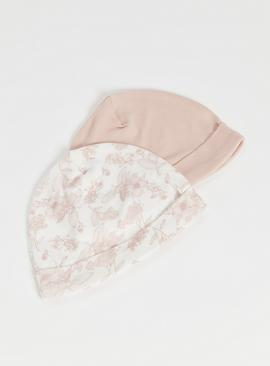 Pink & White Floral Hats 2 Pack
