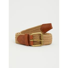 Stone Weave & Faux Leather Trim Belt