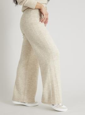 PETITE Oatmeal Coord Knitted Wide Leg Trousers