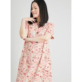 Paisley Print Linen-Rich Shift Dress