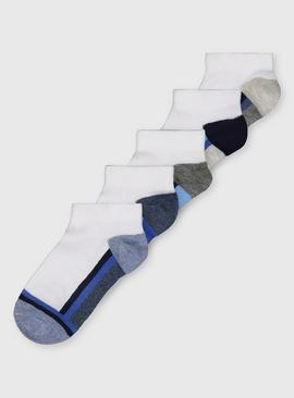 White Stripd Trainer Socks 5 Pack