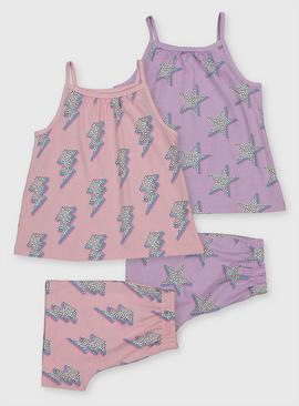 Lightning Bolt & Star Shortie Pyjamas 2 Pack