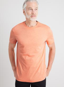 Orange Slub Crew Neck T-Shirt