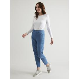 Blue Mom Slim Fit Twill Trousers