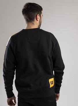 CATERPILLAR Black Icon Stripe Crew Neck Sweatshirt