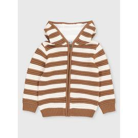 Stripe Hooded Knitted Cardigan