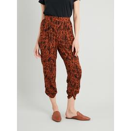 Brown Paisley Cropped Drapey Trousers
