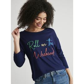 Navy 'Roll On The Weekend' Slogan Top