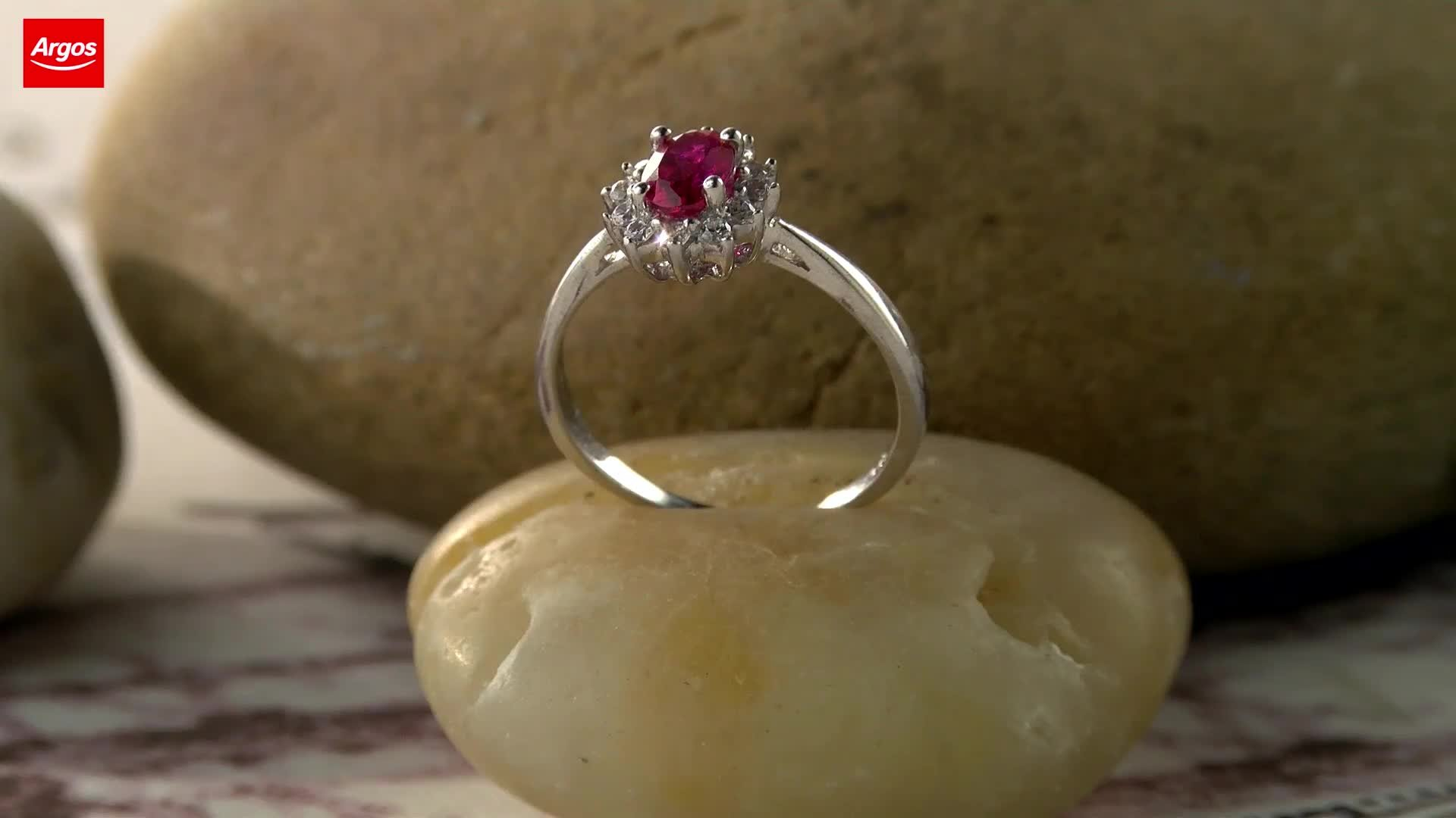 Revere Sterling Silver Red and White Cubic Zirconia Ring