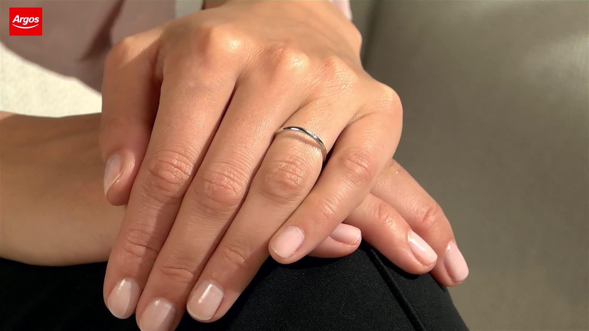 Revere 9ct White Gold Rolled Edge D-Shape Wedding Ring - 2mm