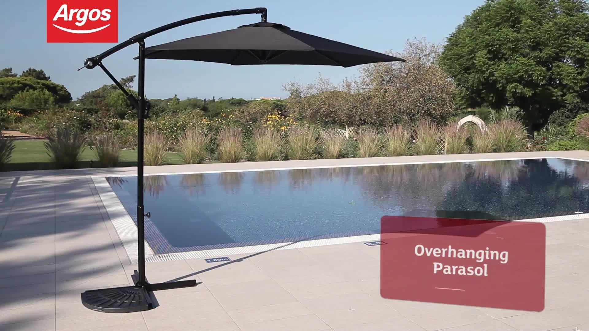 buy collection black nonrotating m overhanging parasol at argoscouk your online shop for garden. Black Bedroom Furniture Sets. Home Design Ideas
