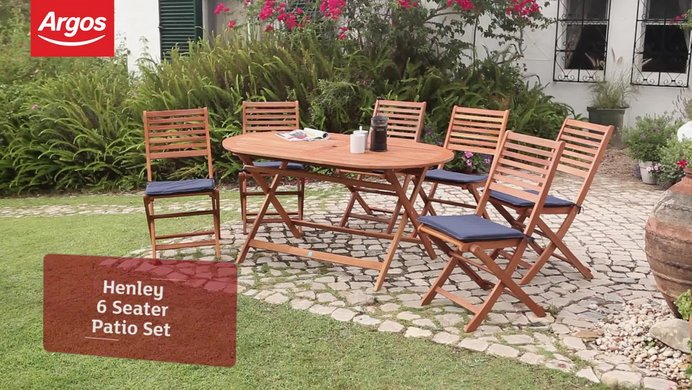 buy argos home newbury 6 seater wooden patio set garden table and