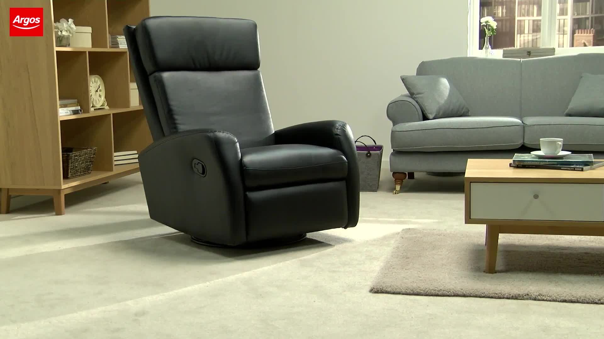 Buy Collection Rock-R-Round Leather Eff Recliner Chair - Black at Argos.co.uk - Your Online Shop for Armchairs and chairs Living room furniture ... & Buy Collection Rock-R-Round Leather Eff Recliner Chair - Black at ... islam-shia.org