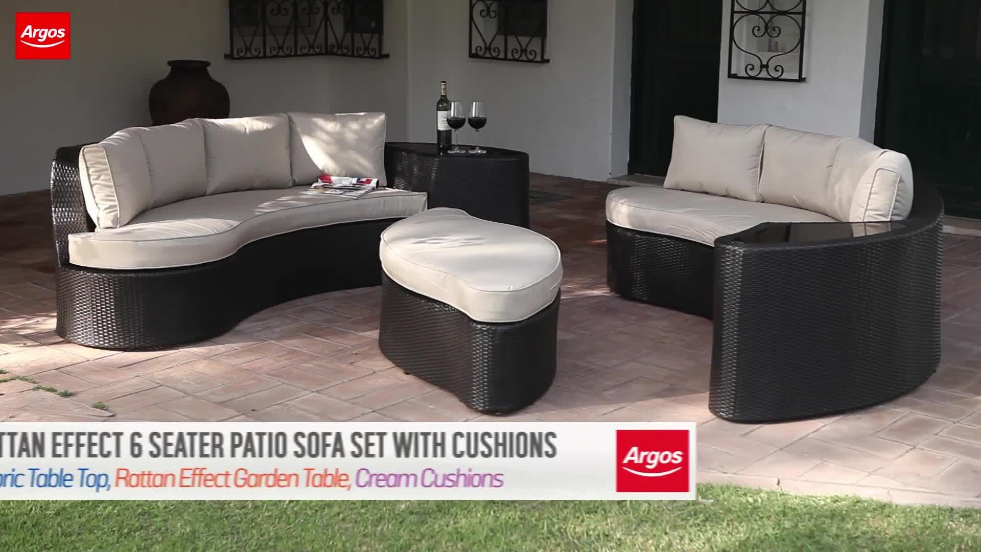 buy argos home 6 seater rattan effect sofa set garden table and rh argos co uk