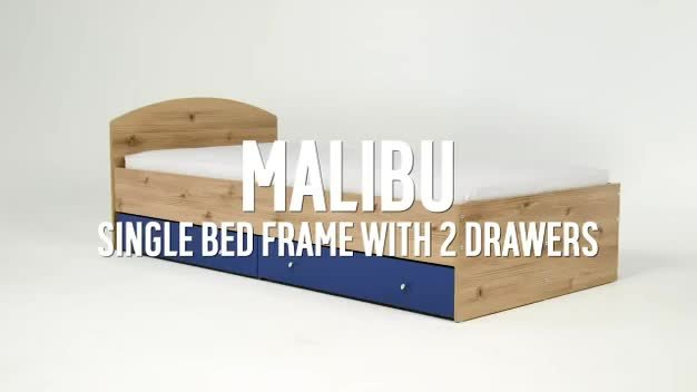 HOME Malibu Single Bed Frame - Pine & Blue.