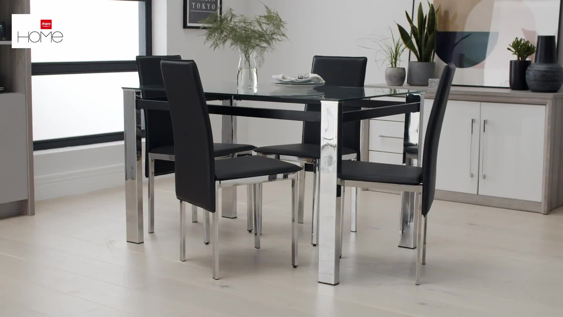 Buy Argos Home Fitz Clear Glass Dining Table & 9 Black Chairs ...