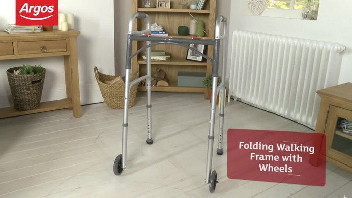 Buy Folding Walking Frame with Wheels - Height Adjustable | Walking ...